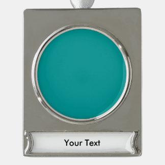 ティール(緑がかった色)のテンプレート シルバープレートバナーオーナメント