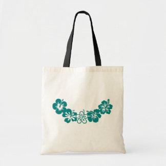 ティール(緑がかった色)のハイビスカスのレイのハワイの記念品 トートバッグ