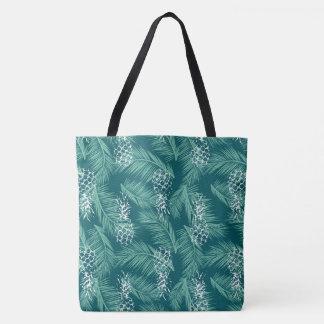 ティール(緑がかった色)のパイナップル トートバッグ