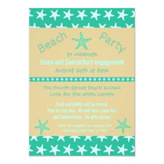 ティール(緑がかった色)のヒトデのビーチ-婚約パーティの招待状 12.7 X 17.8 インビテーションカード