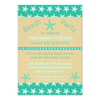 ティール(緑がかった色)のヒトデのビーチ-誕生日のパーティの招待状 カード