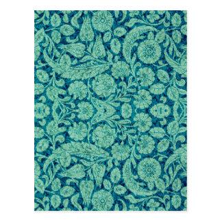 ティール(緑がかった色)のビクトリアンなアラベスク、CANTARA及び水 ポストカード