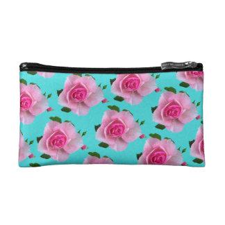 ティール(緑がかった色)のピンクのバラ コスメティックバッグ