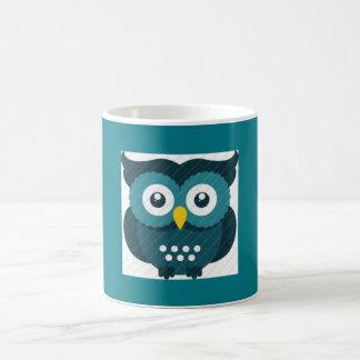 ティール(緑がかった色)のフクロウのマグ コーヒーマグカップ