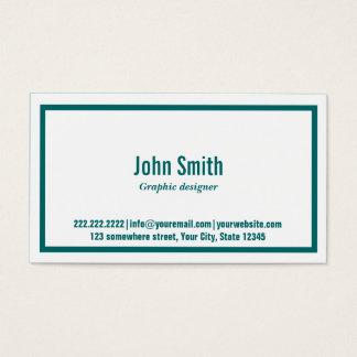 ティール(緑がかった色)のボーダーグラフィック・デザインの名刺 名刺