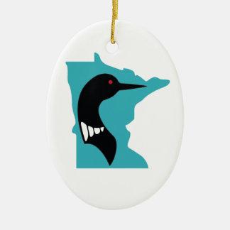 ティール(緑がかった色)のミネソタの水潜り鳥の黒 セラミックオーナメント