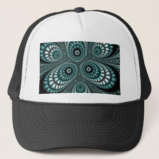 ティール(緑がかった色)のモザイクフラクタルのトラック運転手の帽子 キャップ