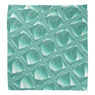 ティール(緑がかった色)のモダンなガラス抽象デザインのバンダナ バンダナ
