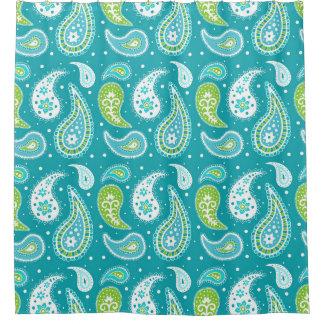 ティール(緑がかった色)のライムグリーンのペイズリーパターンシャワー・カーテン シャワーカーテン