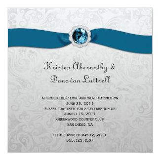 ティール(緑がかった色)のリボンの宝石の銀のポストの結婚式招待状 カード