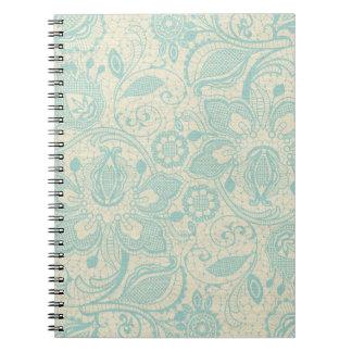 ティール(緑がかった色)のレースのノート ノートブック