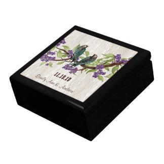 ティール(緑がかった色)のヴィンテージは鳥の紫色の桜の枝をlove ギフトボックス