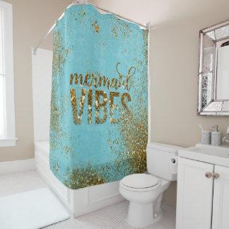 ティール(緑がかった色)の人魚の感情の金ゴールドのグリッターのタイポグラフィ シャワーカーテン
