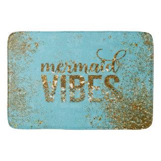 ティール(緑がかった色)の人魚の感情の金ゴールドのグリッターのタイポグラフィ バスマット