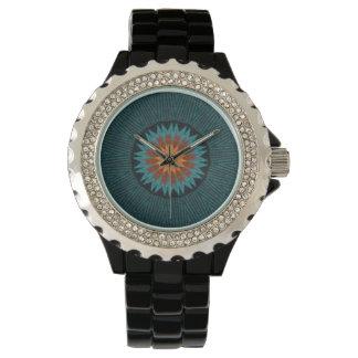ティール(緑がかった色)の南西万華鏡のように千変万化するパターンのラインストーンの腕時計 腕時計