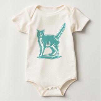 ティール(緑がかった色)の原住民猫 ベビーボディスーツ