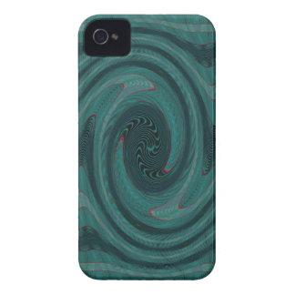 ティール(緑がかった色)の回状の抽象芸術 Case-Mate iPhone 4 ケース