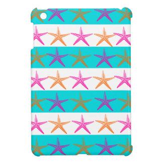 ティール(緑がかった色)の夏のビーチのテーマのヒトデは縞で飾ります iPad MINIカバー