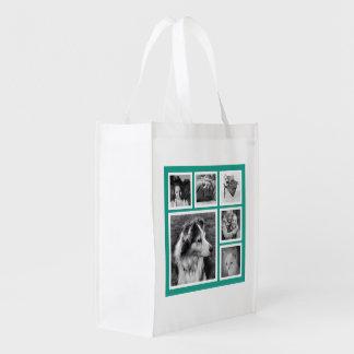 ティール(緑がかった色)の女の子6のInstagramのモダンな写真 エコバッグ
