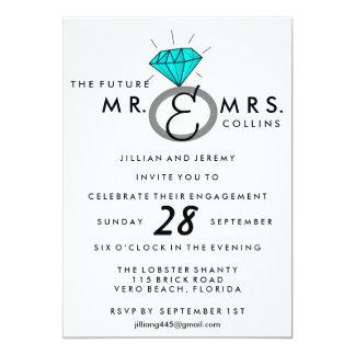ティール(緑がかった色)の婚約指輪のパーティの招待状 12.7 X 17.8 インビテーションカード