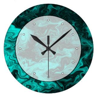 ティール(緑がかった色)の抽象的なパターン ラージ壁時計