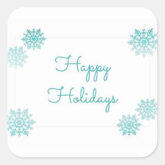 ティール(緑がかった色)の揺らめくシックな雪片の休日 スクエアシール