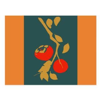 ティール(緑がかった色)の日本のな柿 ポストカード