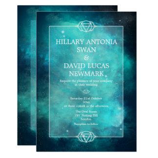 ティール(緑がかった色)の星雲およびチャクラの結婚式招待状 カード