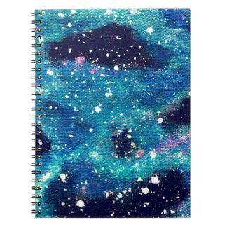 ティール(緑がかった色)の星雲および星 ノートブック