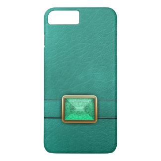 ティール(緑がかった色)の模造のな革および宝石用原石の電話箱 iPhone 8 PLUS/7 PLUSケース