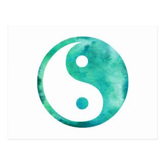 ティール(緑がかった色)の水の水彩画の陰陽の道教のバランス ポストカード