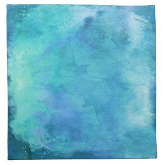 ティール(緑がかった色)の水の青いティール(緑がかった色)の水彩画の質パターン ナプキンクロス