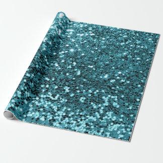 ティール(緑がかった色)の水生Tiffanyのスパンコールのグリッターの光沢がある効果 ラッピングペーパー
