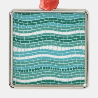 ティール(緑がかった色)の波の水のターコイズの抽象芸術のオーシャンブルー メタルオーナメント