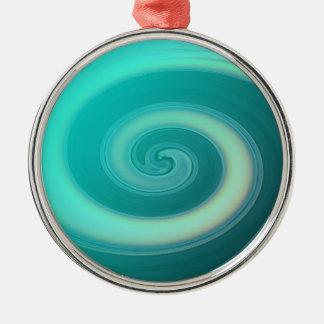 ティール(緑がかった色)の海洋波 メタルオーナメント