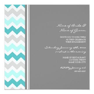 ティール(緑がかった色)の灰色のシェブロンの婚約パーティの招待状 13.3 スクエアインビテーションカード