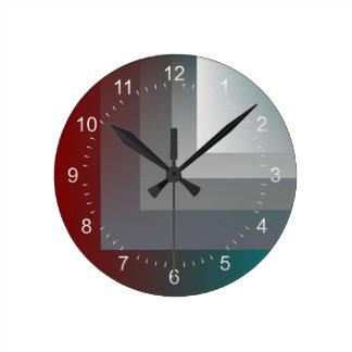 ティール(緑がかった色)の灰色バーガンディ ラウンド壁時計