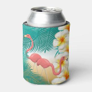 ティール(緑がかった色)の熱帯ビーチのデザインのフラミンゴ 缶クーラー