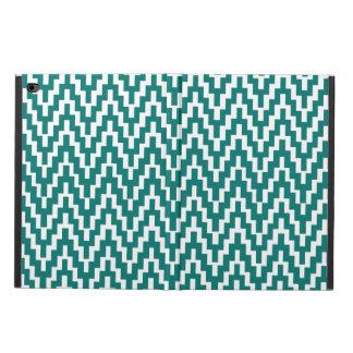 ティール(緑がかった色)の白いイカットのシェブロンのジグザグ形のストライプなパターン POWIS iPad AIR 2 ケース