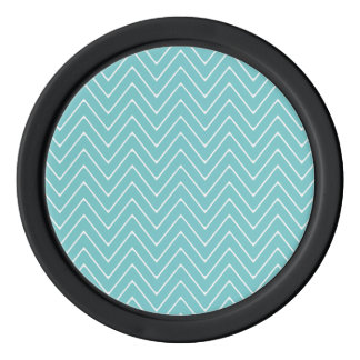 ティール(緑がかった色)の白いシェブロンパターン2A ポーカーチップ