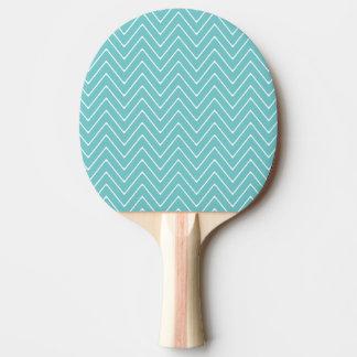 ティール(緑がかった色)の白いシェブロンパターン2A 卓球ラケット