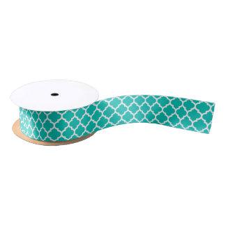 ティール(緑がかった色)の白いモロッコのクローバーの格子垣パターン#5 サテンリボン