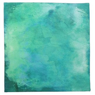 ティール(緑がかった色)の真新しい緑の水彩画の質パターン ナプキンクロス