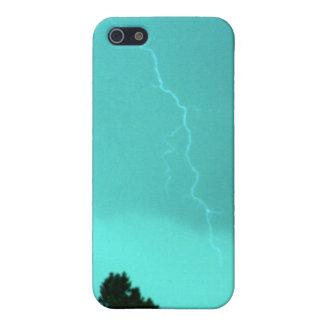 ティール(緑がかった色)の稲妻3のIphone 4/4s Speckの場合 iPhone 5 Cover