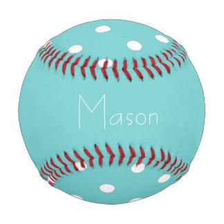 ティール(緑がかった色)の空の水玉模様の名前入りな野球 ベースボール