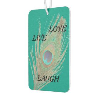ティール(緑がかった色)の笑い愛孔雀の羽は住んでいます カーエアーフレッシュナー