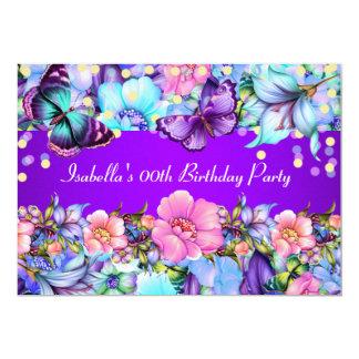 ティール(緑がかった色)の紫色のピンクの蝶誕生会の招待 12.7 X 17.8 インビテーションカード