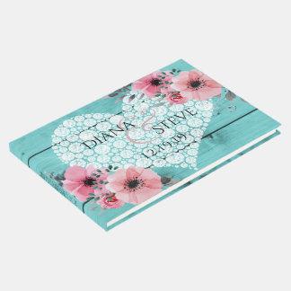 ティール(緑がかった色)の結婚式のダイヤモンドのハートの素朴な木製のピンクの花柄 ゲストブック