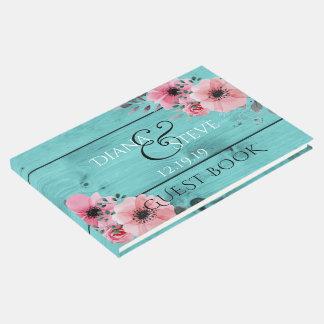 ティール(緑がかった色)の結婚式のモノグラム|の素朴な木製のピンクの花 ゲストブック