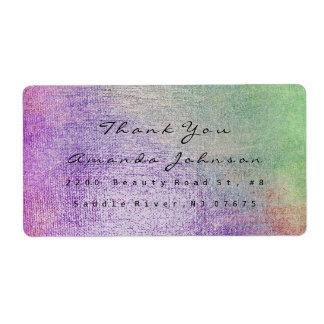 ティール(緑がかった色)の緑に紫色の赤面の化粧は感謝していしています 発送ラベル